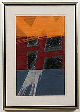 JOHN FRANKLIN KOENIG (1924-2008, WA) ABSTRACT - Unsigned, this mixed media on board is an abstract in orange, burgundy and navy blue...