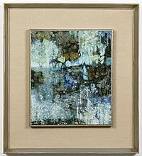 KATHLEEN GEMBERLING (1917-2010, WA) PAINTING - Oil on canvas, signed and dated at lower right. Abstract painting in blues and greens...