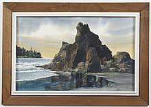 RAY GERRING (WA) PAINTING - Watercolor on paper, signed, of a coastal scene with rocks and trees in the background. Condition good....