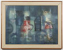 ALFONSAS DARGIS PAINTING ON PAPER - A signed oil on paper composition in blues, reds, and greens. Memorial Art Gallery (NY) label on...