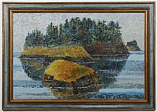 RAY GERRING (WA) PAINTING - Signed oil on canvas palette knife painting of a small island, likely near the San Juan Islands in Washi...