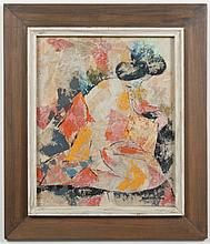 MARIE ELISE GRAY (WA) PAINTING - Gouache on rice paper painting of a seated woman in a colorful kimono of pink and orange. Of intere...