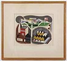 ROBERT IGLEHART (1912- , MI) PAINTING - This W.P.A. (Depression era Federal Art Project F.A.P.) style gouache painting on paper show...