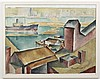 HARRY BONATH (1903-1976, WA) PAINTING - Watercolor on paper painting of a harbor scene with a large ship and a city skyline in dista...