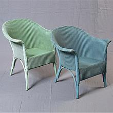 PAIR LLOYD LOOM ARMCHAIRS - By Lloyd Loom, unmarked. Vintage English, paper over wire woven construction with arched back, scrolled-...