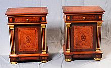 PAIR OF NIGHT STANDS - Contemporary Neo-Classical style with walnut and burled walnut veneers, faux mother-of-pearl, ebony and satin...