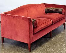 BAKER SOFA - Modified camel-back style, made by Baker Furniture, with wine colored low-pile velvet upholstery, straight arms, tapere...