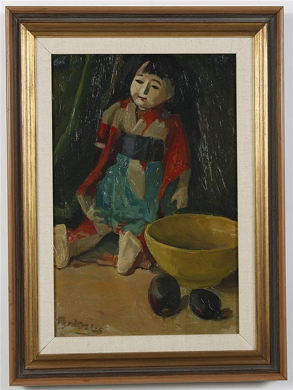 OIL ON BOARD - Signed still life with doll with kimono, bowl and fruit. Illegible signature. Condition good. Dated 1935. 19