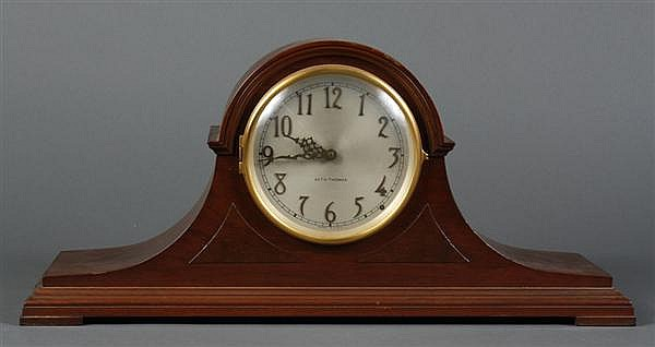 SETH THOMAS MANTLE CLOCK - Seth Thomas mantel clock that has been electrified. Dark brown wood case. Condition good, no problems not...