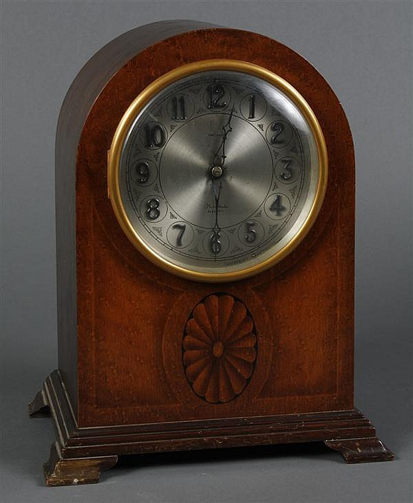 ANTIQUE HERSCHEDE MANTLE CLOCK - Cased electric mantle clock with two chimes. This clock style was the Grand Prize winner in the Pan...