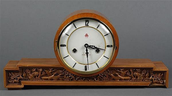 CHINESE 555 MANTEL CLOCK - Chinese chiming clock in light wood case with simple black on white face; marked 555 brand, 15 day, Shang...