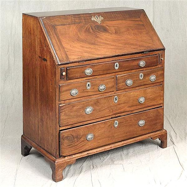 ADDED INFORMATION: DROP FRONT DESK - Antique Irish mahogany with inset leather writing pad