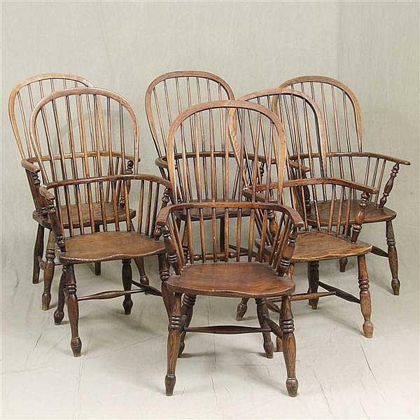ADDED PHOTOS AND INFORMATION: SIX WINDSOR ARMCHAIRS - Collected set of similar antique American elm with tall arched backs, bent yoke..