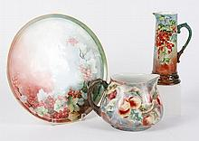 THREE LIMOGES HAND-PAINTED PIECES - Showing fruits amid complex blends of color. First, a red currant-themed charger plate, .5