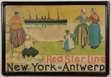 VINTAGE RED STAR LINE SHIPPING POSTER - Made by Ryker & Mendel, marked