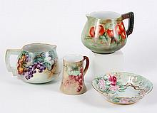 FOUR PORCELAIN PIECES - Bowl, 2 ciders and tankard all have pale green ground. Two pitchers, one (6