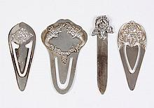 FOUR FLORAL MOTIF STERLING BOOKMARKS - First, with iris finial, marked