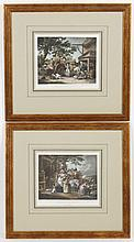 After George Morland: TWO HANDCOLORED PRINTS ON PAPER - The hand-colored prints are depictions of village scenes and are titled