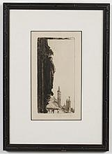 GABRIELLE DE VEAUX CLEMENTS (1858-1948, USA) ETCHING ON PAPER - Pencil signed, lower right margin, etching of an architectural statu...