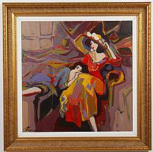 ISSAC MAIMON (1951- , Israel) ACRYLIC PAINTING ON CANVAS - This painting is of seated women, one wearing a large hat, titled