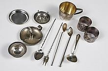 ASSORTED STERLING SILVER TABLEWARE - 12 pieces from varied American and UK silversmiths comprising 2 napkin rings, spoon and pickle ...