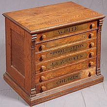 J. & P. COATS SPOOL CABINET - Antique American counter-top style oak with alder and poplar secondary woods, six full-width spool tra...