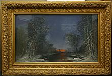 19TH CENTURY PASTEL DRAWING ON PAPER - Unsigned, this pasted depicts a snowy landscape with river and trees