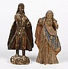 TWO CARVED WOOD RELIGIOUS FIGURES - One is the Virgin Mary and the other possibly a portrayal of the Archangel Michael. Mary has som...