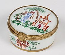 VINTAGE LIMOGES BOX IN THE CHINESE STYLE - Decorated with a handpainted scene of a man carrying baskets on a shoulder pole and a pag...