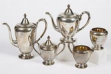 STERLING SILVER ROGERS COFFEE SERVICE - Five pieces marked