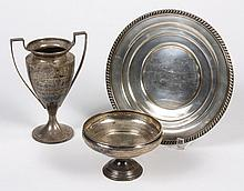 TWO STERLING SILVER URNS, A COMPOTE, A TRAY AND A TROPHY - No maker's mark is seen on the trophy (7.94 t.oz., 8