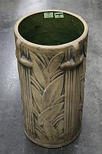 AMERICAN ART DECO UMBRELLA STAND (One of two) - Decorated with vertical lines and geometric leaf pattern and four rudimentary handle...