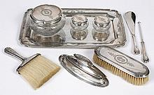 STERLING SILVER AND CRYSTAL DRESSER SET - Includes tray (14