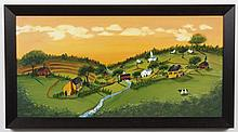 TODD YOUNG (Indiana) OIL PAINTING ON BOARD - A signed, modern folk style painting of a rural scene with houses, river and meadows. C...