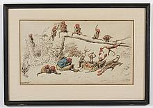 ERNEST GRISET (1844-1907, France) INK AND WATERCOLOR ON PAPER - This drawing, signed lower left, shows a seated man and a group of m...