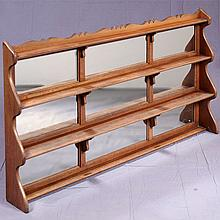 WALL DISPLAY SHELF - Antique Welsh oak frame with graduated; multi-tiered configuration, scalloped top rail, and retro-fitted with a...