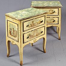 PAIR OF ITALIAN SIDE TABLES - Provincial style with faux marble painted tops, gilt decoration, hand-painted classical vignettes. Ye...
