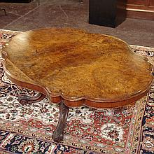 PHOTO ADDED; TILT-TOP PARLOR COFFEE TABLE - Antique, most likely Austrian with burled walnut and walnut veneers, serpentine edge and...