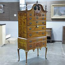 ADDENDUM; HIGHBOY DRESSER - Antique American cherry with open pediment top, upper cabinet with three unique drawers over four full-w...