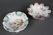 TWO ANTIQUE GERMAN PORCELAIN SERVING BOWLS - The first has a lustre finish and is decorated with roses and violas; stamped