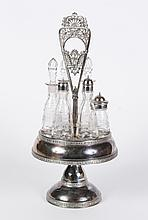SILVERPLATE 6-PIECE VICTORIAN CONDIMENT SET - Includes original matching etched glass oil and vinegar cruets/bottles, salt and peppe...
