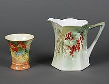 TWO ASSORTED BAVARIAN PORCELAIN VESSELS - First, six-sided scallop-rim pitcher with currants on green/red ground, signed
