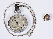 WALTHAM POCKET WATCH AND TINY PORTRAIT PIN - The miniature portrait pin (oval, 5/8