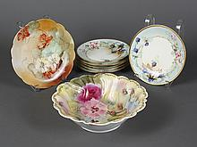 ASSORTMENT OF ANTIQUE CONTINENTAL PORCELAIN - Includes a serving bowl with scalloped edge and decorated with field flowers; stamped ...