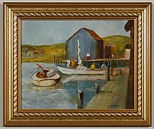 UTLEY OIL ON BOARD - Signed lower right, painting of a pier scene with boats