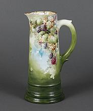 ANTIQUE PORCELAIN PITCHER - Decorated with loganberries and flowers with gilt accents on the interior rim. Unmarked with exception o...