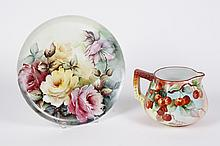 BAVARIAN PORCELAIN CAKE PLATE AND LEMONADE/CIDER PITCHER - Plate with yellow and pink roses, and shield/crown