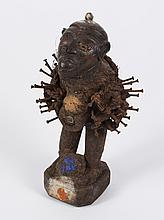 AFRICAN TRIBAL ART: NKISI KONGO NAIL FETISH FIGURE - (Kongo peoples, DR Congo) Carved wood figure with inserted nails, wrapped fiber...
