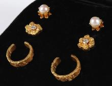 EARRINGS: PEARL, GOLD NUGGET & GOLD EAR CUFFS - Two pair of stud earrings: 4.5 mm pearls and small flowers (0.25
