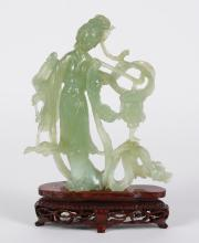 CHINESE JADE CARVING OF QUAN YIN OR A BODHISATVA - Holding a lantern on a pole and possibly a willow branch. Paler green jade mined...